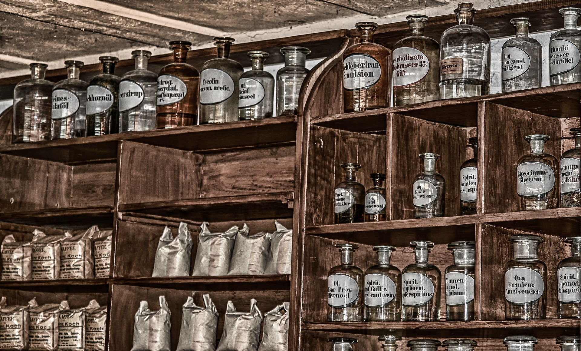 Shelves with jars