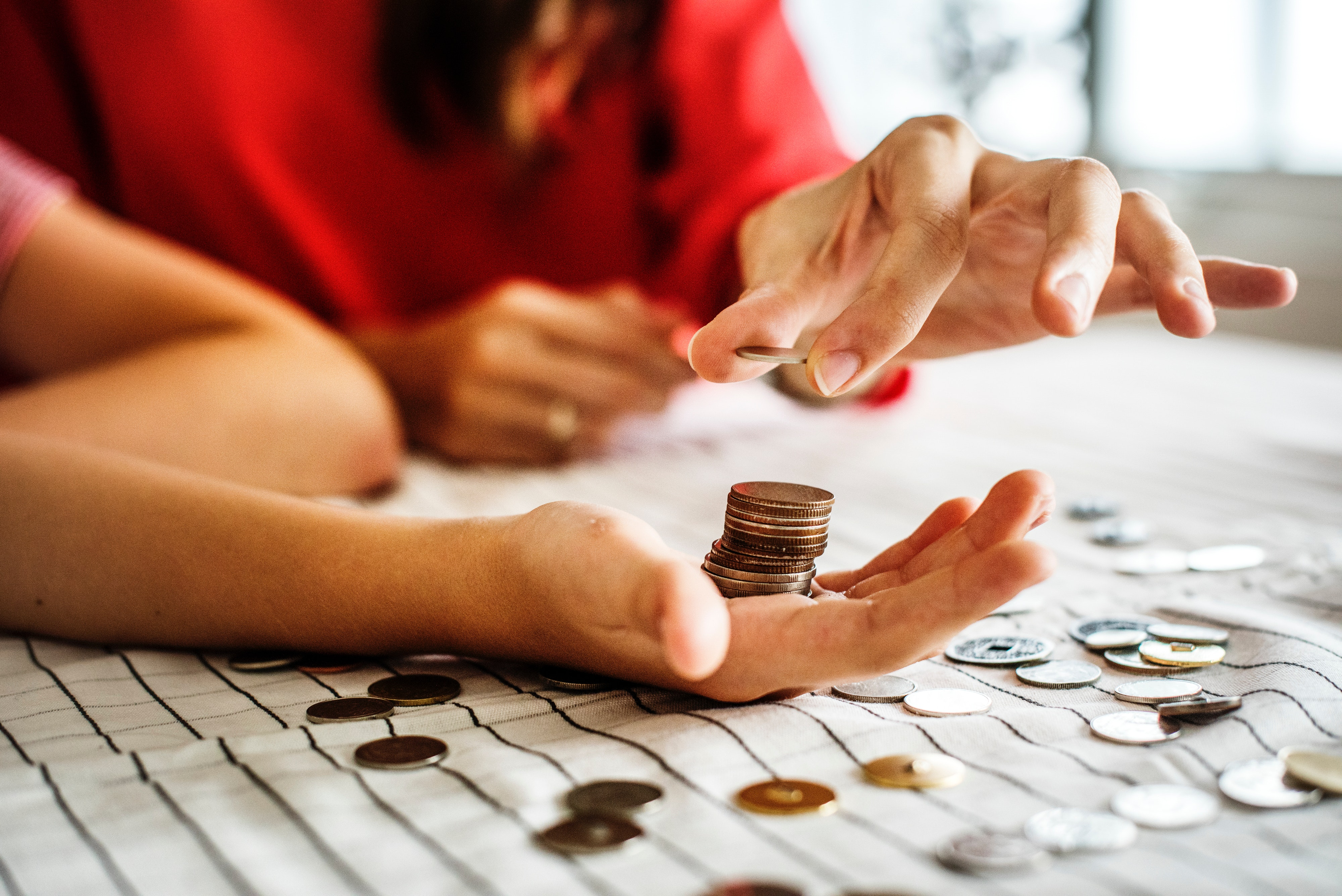 Women counting change