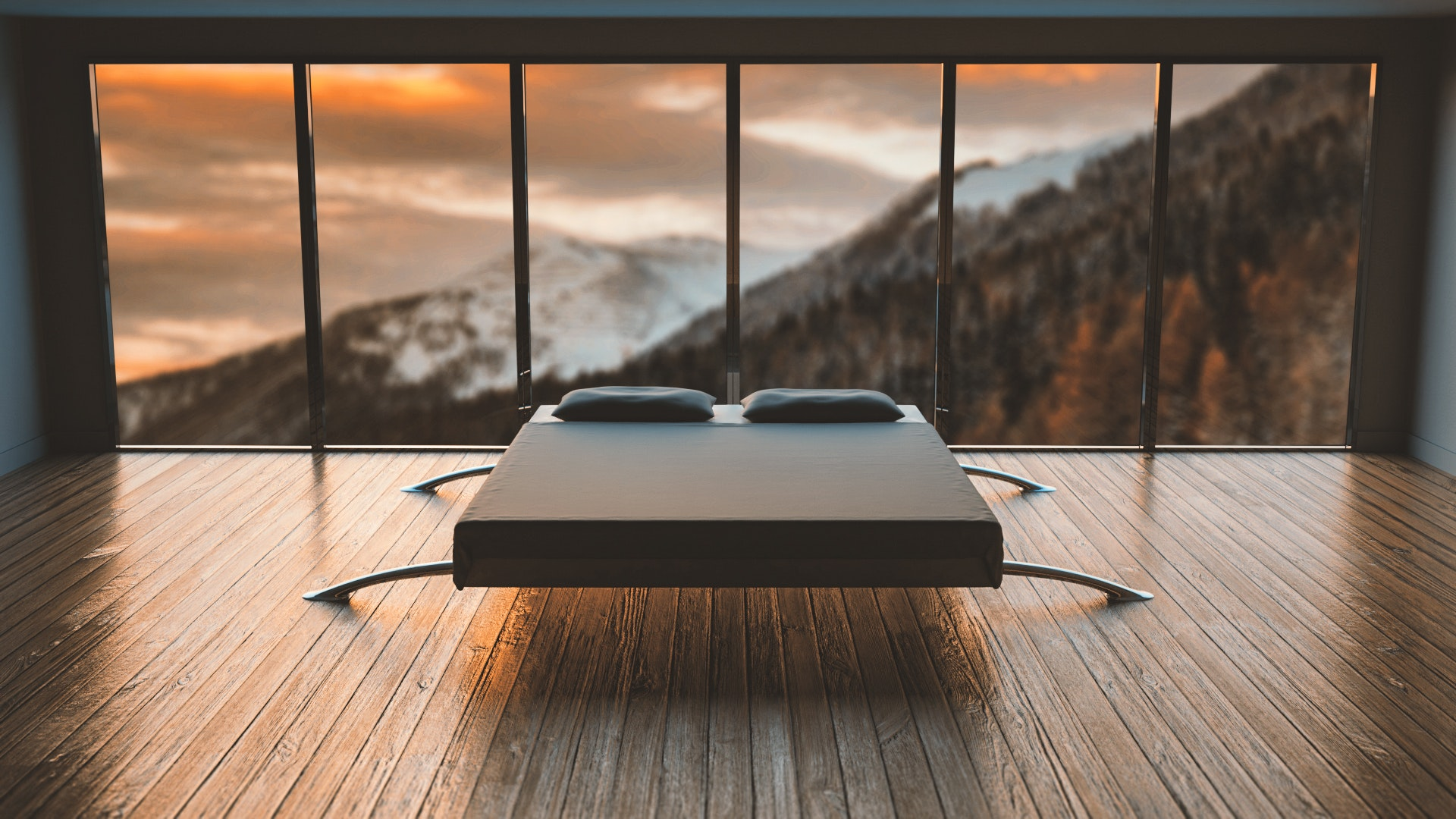 Bedroom including a contemporary bed with mountain views