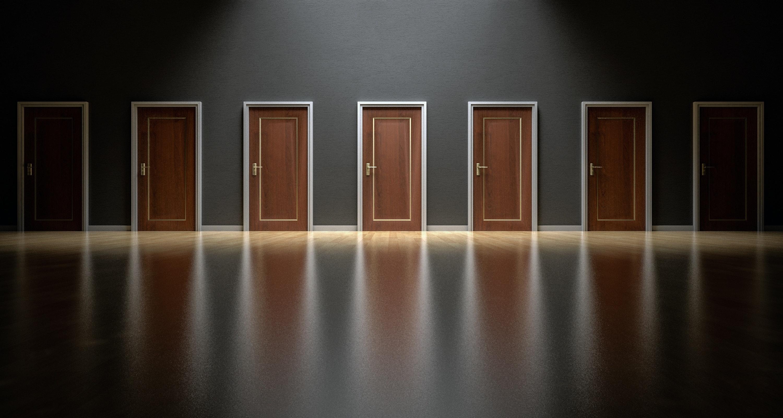 Series of wooden doors